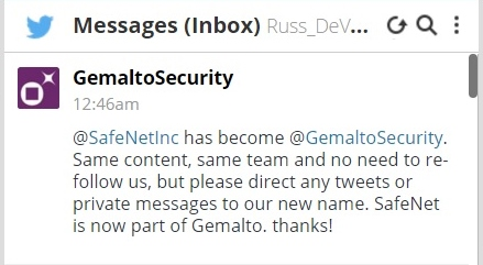 Russ DeVeau SafeNet and Gemalto tweet