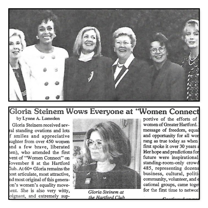 Russ DeVeau at Hartford College for Women Gloria Steinem Debra Norville Bille Jean King Russell DeVeau